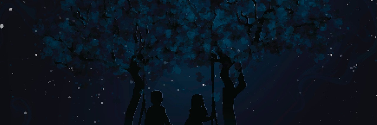 Illustration of two people on a swing under a tree at night with stars in the sky