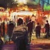 Painting of outdoor market scene at night