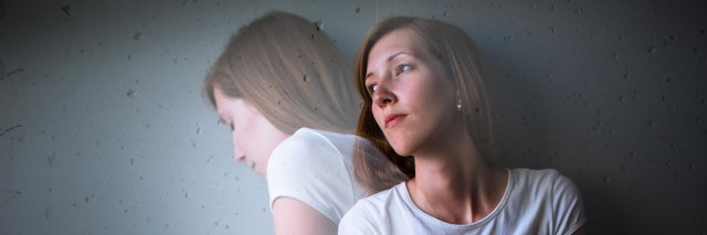 two juxtaposed images of a young woman with depression showing an inner struggle
