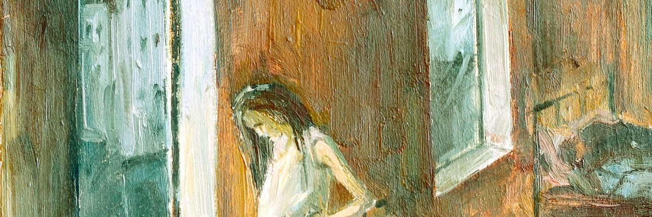 Sketch of the painting brush and oil.Girl in an orphanage