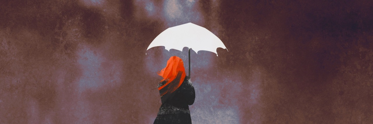 Illustration of woman holding umbrella, standing against stormy city landscape
