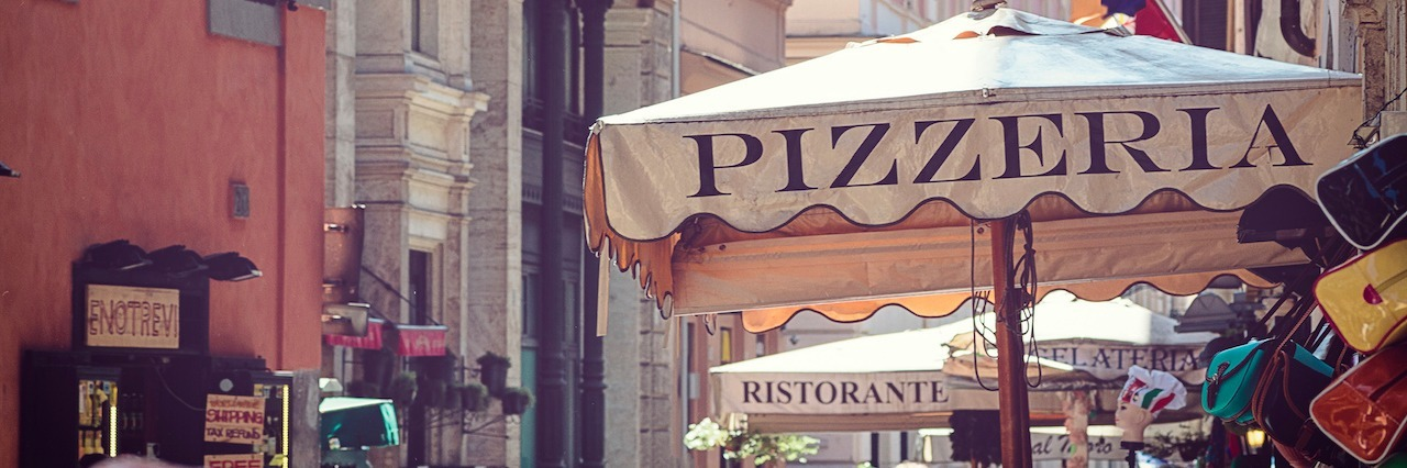pizzeria restaurant in street of Rome