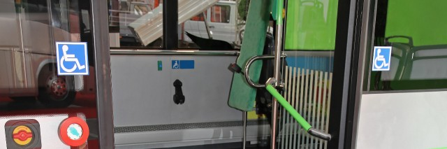 Wheelchair bus with ramp.