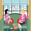 illustration of two women sitting on a couch talking