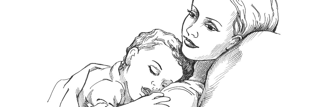 Sleeping child and mother illustration