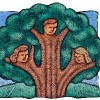 drawing of a tree with three faces in the branches, representing family tree.