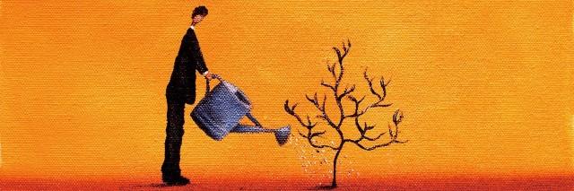 drawing man watering a dead tree