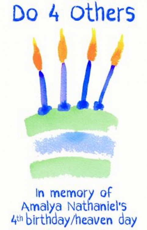 a paining of a birthday cake with four candles. Text reads: do 4 others