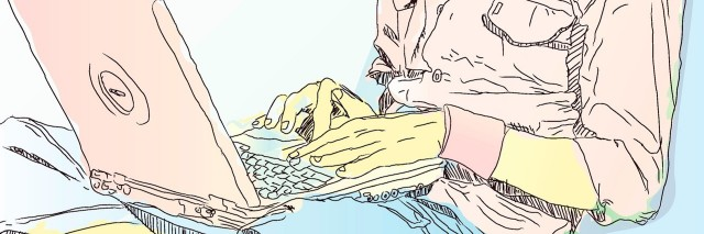 sketch of person with laptop on crossed legs