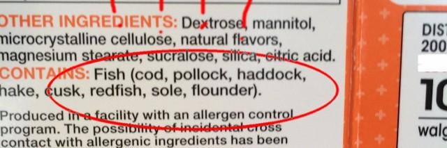 vitamin ingredients including fish oil