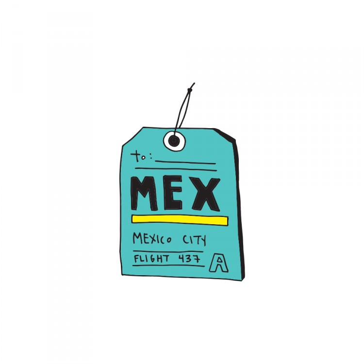 "Illustration of a luggage tag that says ""MEX"""