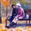 two friends on a bench in autumn