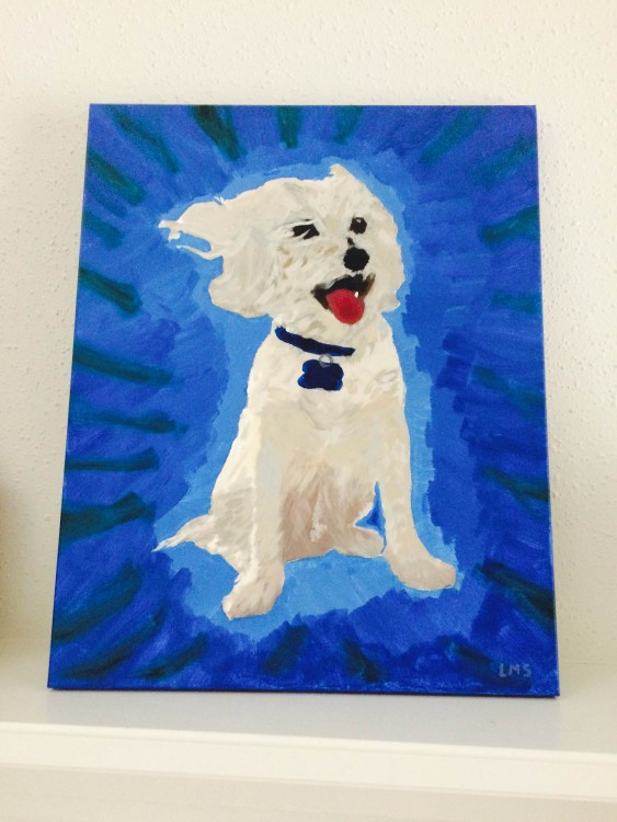 author's painting of her dog, sterling