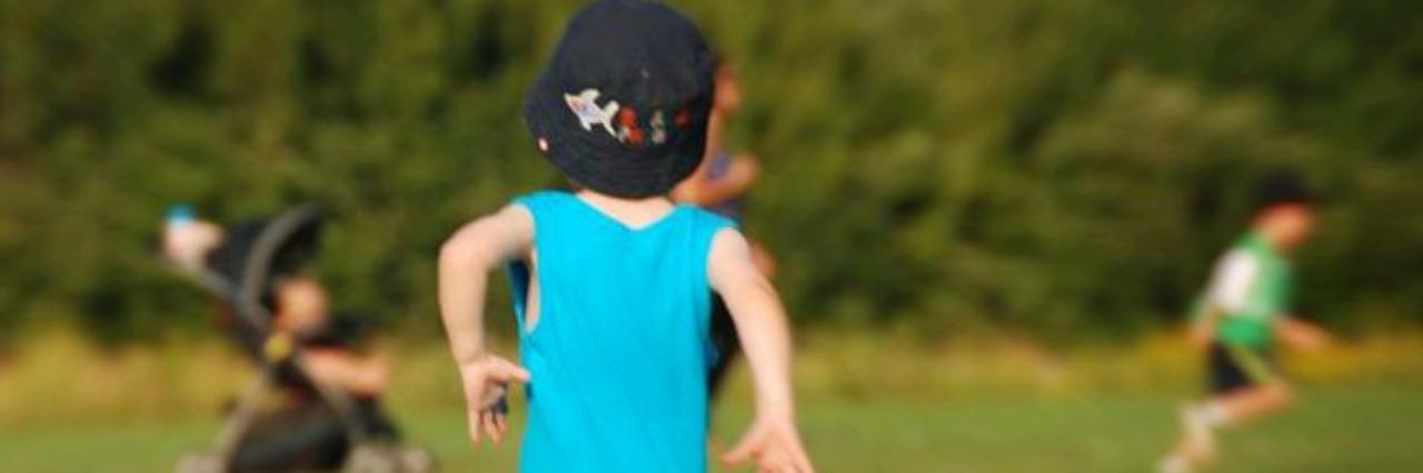 Little boy running.