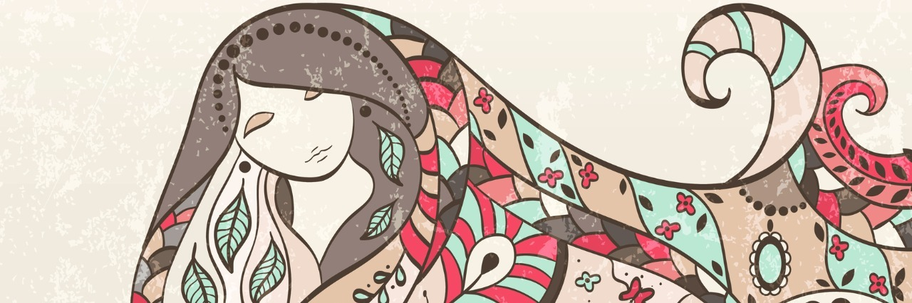 sketch of woman with colorful patterned hair
