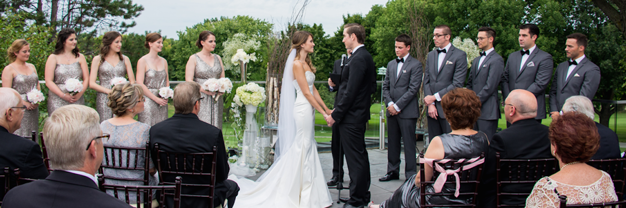 bride and groom at wedding ceremony