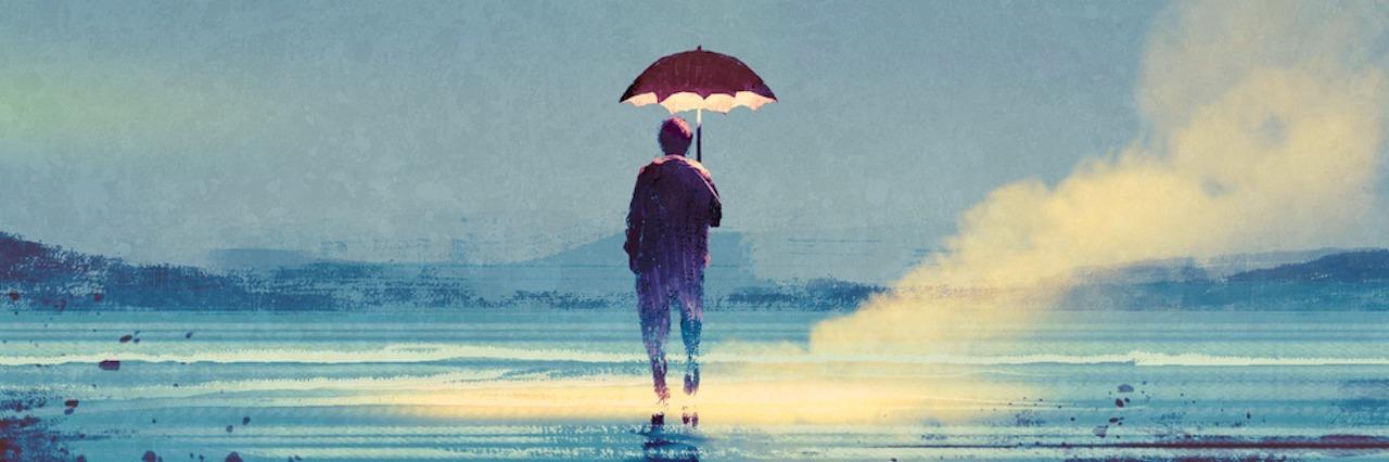 man outside holding umbrella under sky