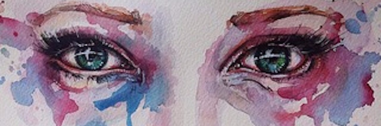 watercolor painting of eyes