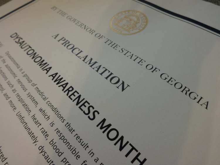 proclamation certificate for dysautonomia awareness month