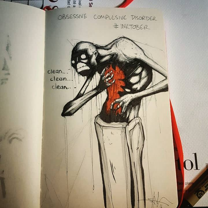 """Illustration of OCD, Creepy figure scratching at chest saying """"clean, clean, clean"""""""