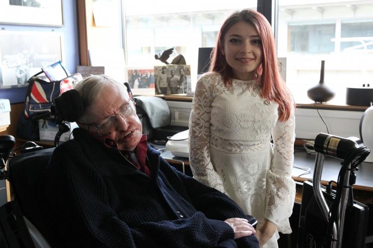 Stephen Hawking and Rebecca Dann