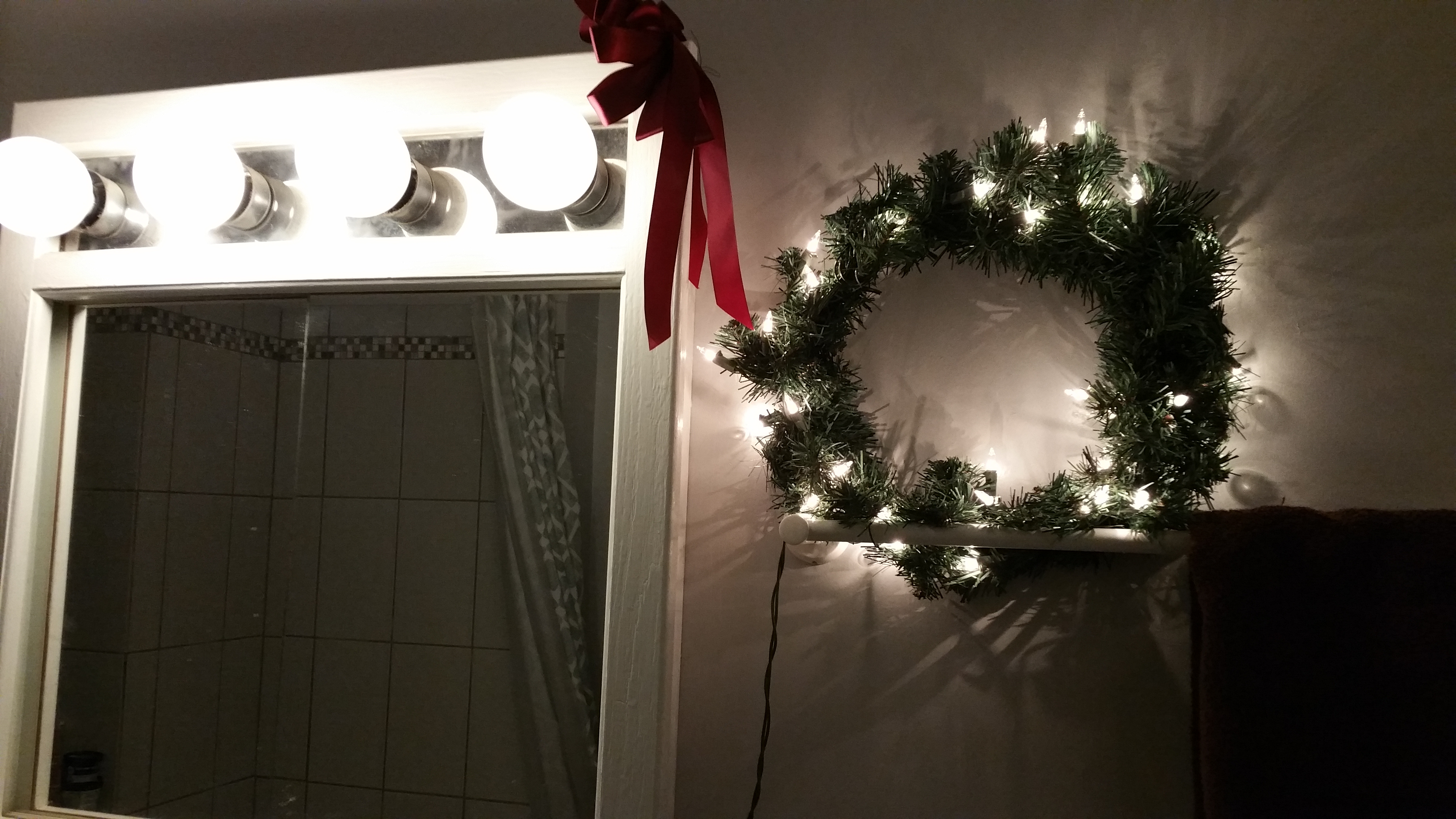 Twinkly lights everywhere--even the bathroom!