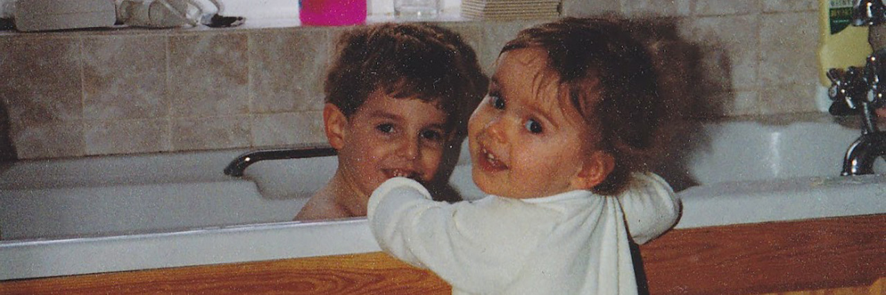 Emily with her brother.