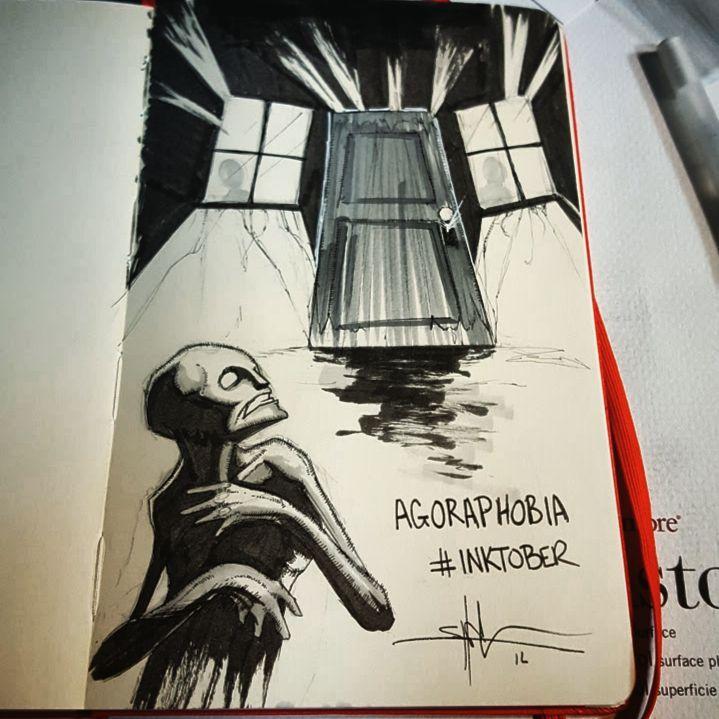 Image of creepy figure staring at an ominous door.
