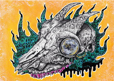 A painting of a goat skull