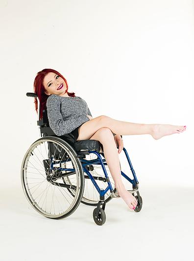 Rebecca Dann in a wheelchair.
