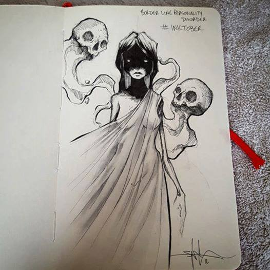 Woman with two skeleton-like ghosts floating around her