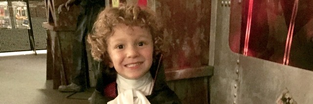 little boy dressed as dracula
