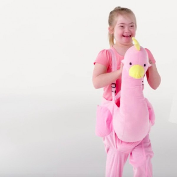 girl dressed in a pink bird costume.