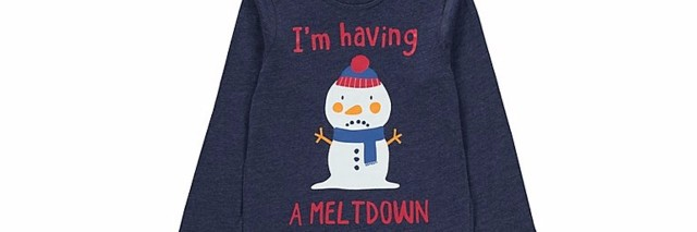 "Photo of sweater that says ""I'm having a meltdown"" and features a snowman"
