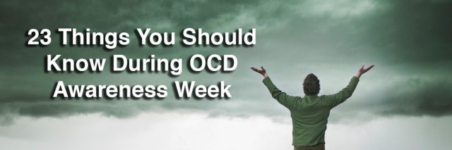 man standing in a field with his hands up. Text reads: 23 things you should know during OCD awareness week