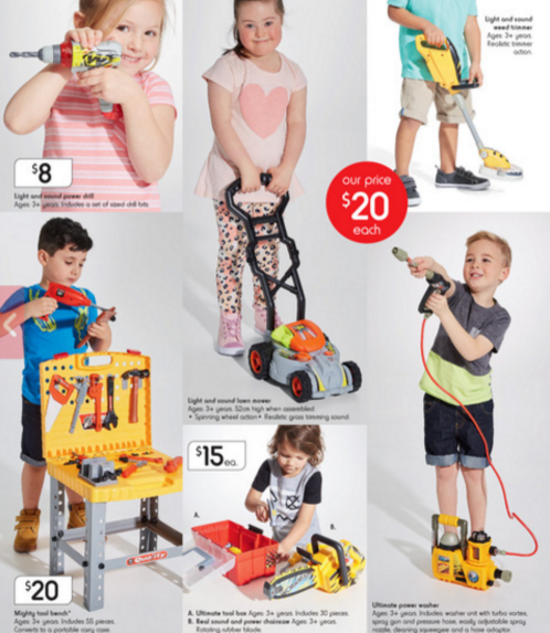 Image of a Kmart catalogue of different children playing with different toys.