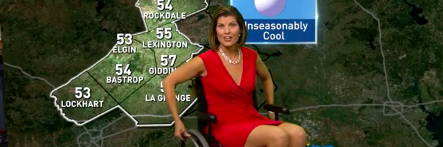 Photo of weatherwoman using a wheelchair during forecast.