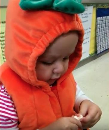 Cal in a pumpkin costume