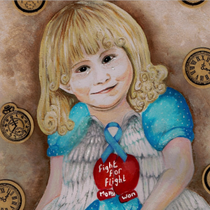 A painting of Molly as a little girl with clocks and a little heart