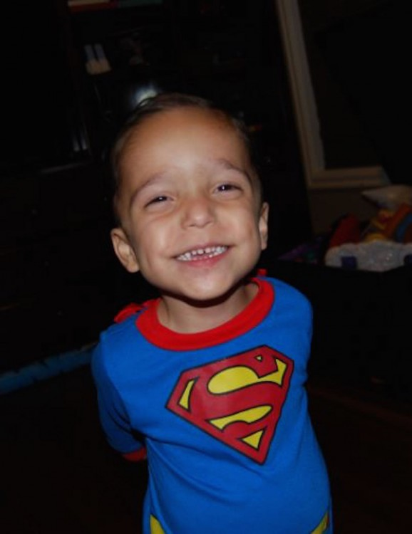 Sandra's son in his Superman shirt