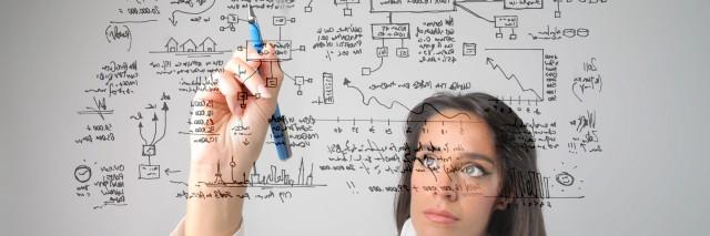woman doing a math equation