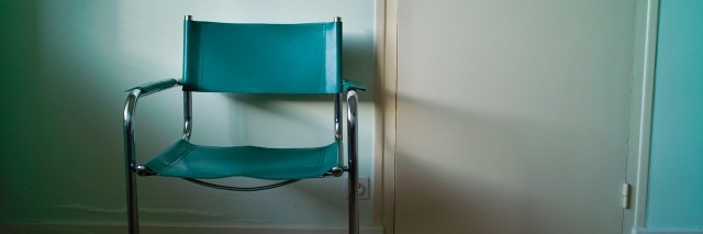 a chair in front of a door