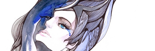 drawing of a woman with tears running down her face