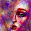 Abstract Digital Illustration sketch of a female with tears.