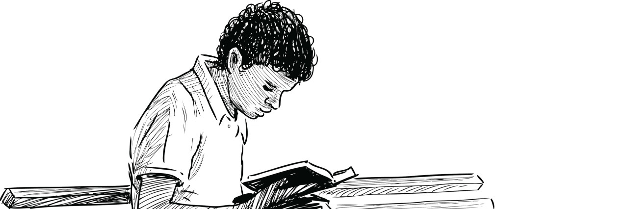 Vector sketch of a boy reading on a park bench.
