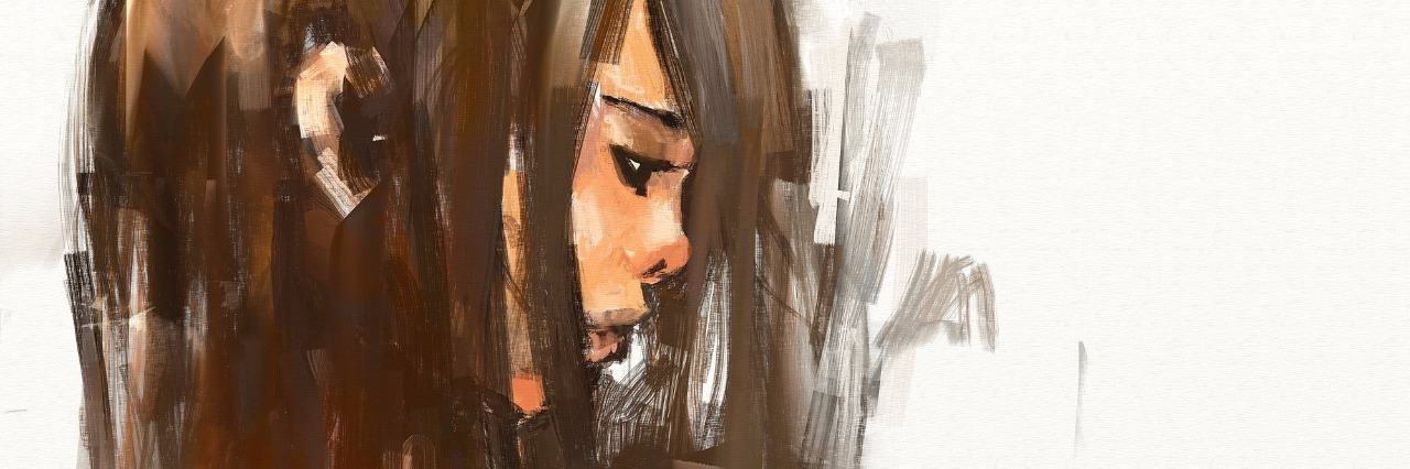 digital painting of girl with brown hair covering face, looking sad