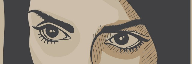 illustration of woman's eyes and dark hair