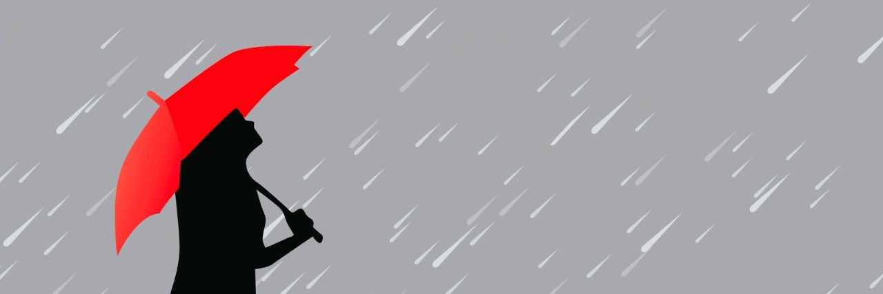 Illustration of woman holding red umbrella under a gray rainy sky