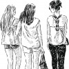 Vector image of the three young girls on a walk.