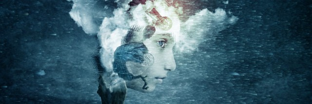abstract futuristic art imagination of face in dreams